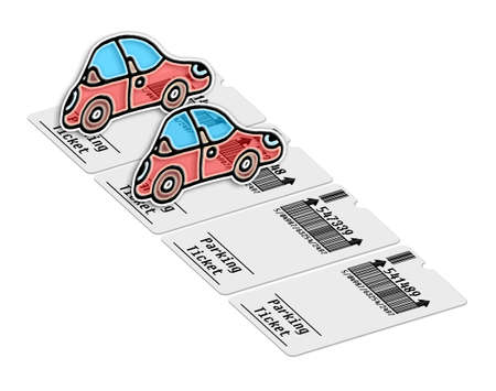 Ticket for parking area on white background - concept image. Bar code and code numbers are completely made up...