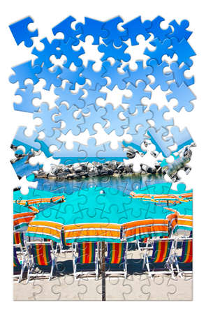 dismantle: Summer is coming - concept image in puzzle shape Stock Photo