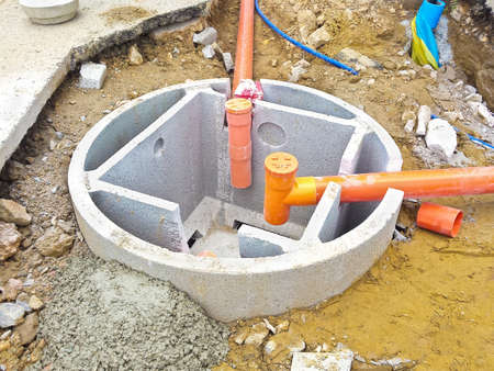 Septic concrete tank during assembly in a italian construction site (Septic tank called Imhoff) Stock Photo