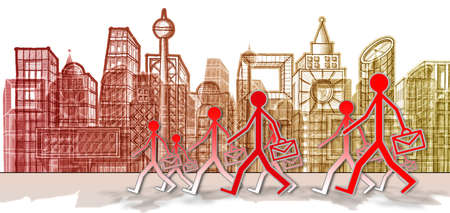 Employees come to work in a big city - concept image