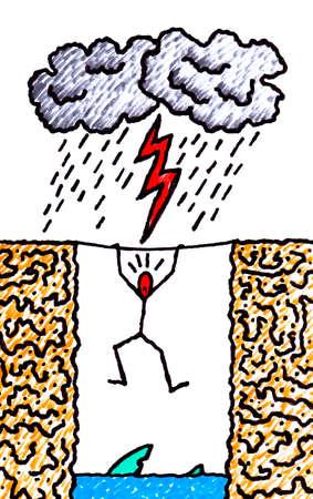 precipice: Precariousness of modern man - concept illustration drawn freehand