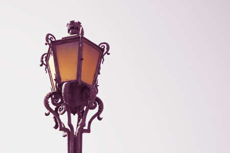 Typical classic portuguese streetlight - image with copy space - toned image