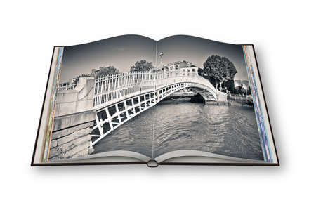 photo album: The most famous bridge in Dublin called Half penny bridge due to the toll charged for the passage - 3D render opened photo book - Im the copyright owner of the images used in this 3D render. Stock Photo