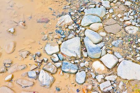 Puddle on rocky ground - background image