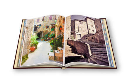 jewish community: 3D render of an opened photo book of Pitigliano Village, Italian etruscan and medieval village built of tufa stone - Called little Jerusalem for the historical presence of a Jewish community - (Tuscany - Italy)