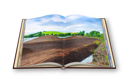 eire: 3D render of an opened photo book with an Irish peat bog landscape - (Ireland - Europe) Stock Photo