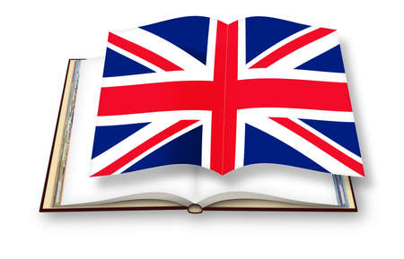 3D render of an opened photobook isolated on white background with English flag 3D render of an opened photobook isolated on white background with English flag flying