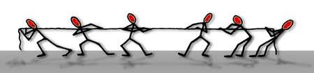 Zug des Seils - Wettbewerbskonzeptbild auf weißem Hintergrund