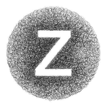 Hand made letter Z drawn with graphic pen on white background - High resolution images Imagens