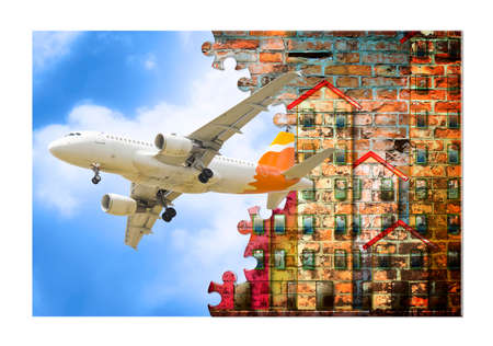 Run away from the city, take a plane and go on vacation! Concept image. The artwork on fusolage is my own invention. Banco de Imagens