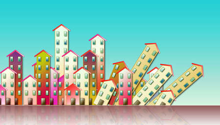 Demolition of an urban agglomeration - concept illustration against a blue background Stock Photo
