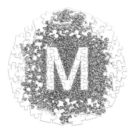 Letter M. Hand made font drawn with graphic pen on white background in jigsaw puzzle shape Banco de Imagens