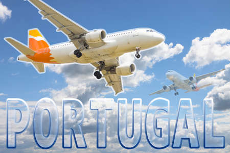 boarding card: A plane flies over portuguese skies. Fly to Portugal concept image