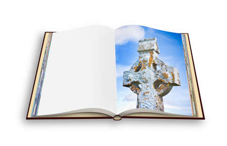 3D render of an opened photobook isolated on white background with celtic carved stone cross
