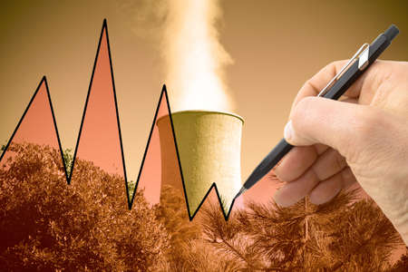 Hand drawing a graph about geothermal energy - concept image