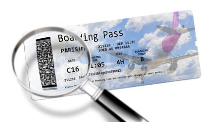 Airline boarding pass tickets - The dangers of identity theft at airports - Concept image. The contents of the image are totally invented and does not contain under copyright parts.