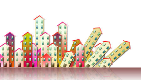 Demolition of an urban agglomeration - concept illustration against a white background