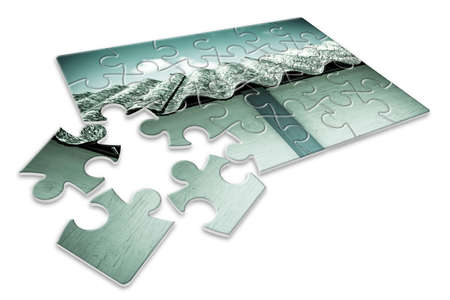 Asbestos removal  - concept image in puzzle shape Stock Photo