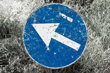 Blue road sign with white arrow immersed in a grass field - Desaturated background to emphasize the subject