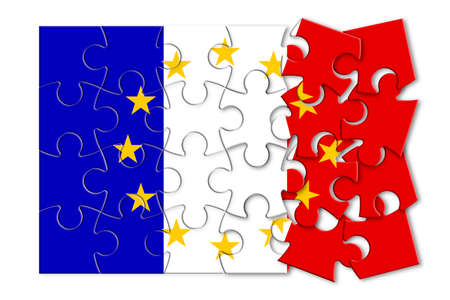 France Exit Europe - concept image in jigsaw puzzle shape