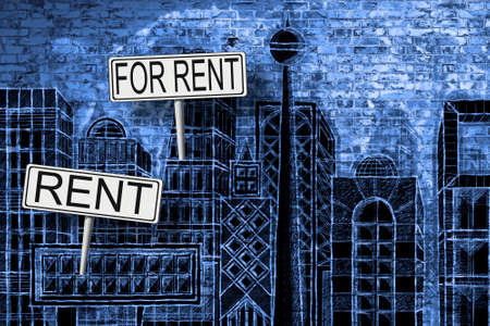 Real estate concept image with a urban skyline doodles background and placards with written rent on it. I'm the copyright owner of the draws used in this picture. 스톡 콘텐츠