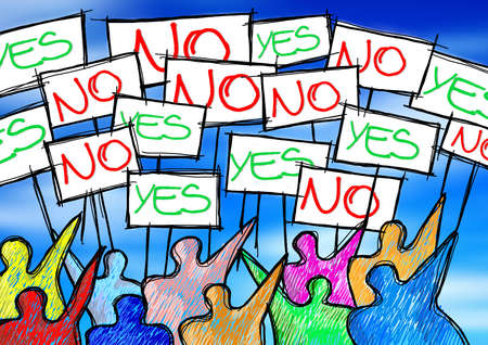 A group of people protesting writing yes and no on their billboards - concept illustration