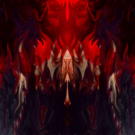 Fluid abstract background - In the upper part of the image the silhouette of a terrifying face - image with copy space