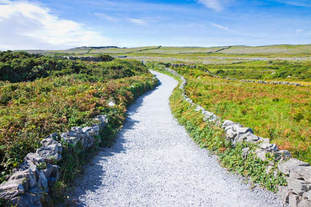Typical Irish flat landscape in Aran Island with country road, stone walls and fields of grass for grazing animals (Ireland)