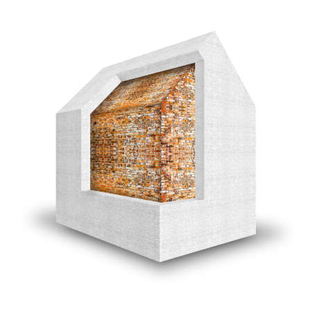 3D render home thermally insulated with polystyrene walls - Buildings energy efficiency concept image