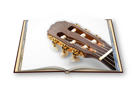 3D render of a wooden classic guitar on opened photobook isolated on white background