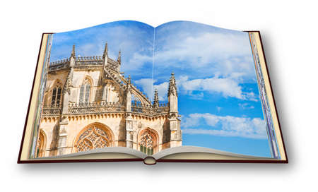 3D render of the detail of the facade of Batalha cathedral in Portugal (Europe) - Im the copyright owner of the images used in this 3D render. Stok Fotoğraf