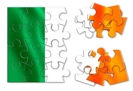 Reunification of Ireland - concept image in jigsaw puzzle shape