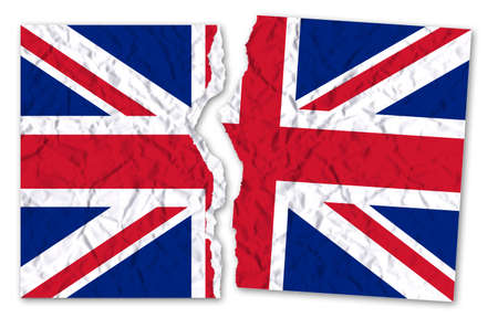 Ripped photo of a british flag - concept image Banco de Imagens