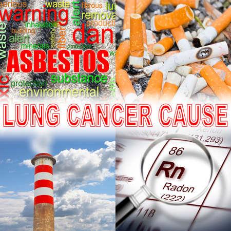 Sigaretten, radongas, luchtvervuiling, asbest: de belangrijkste oorzaken van longkanker - conceptbeeld Stockfoto - 92503011