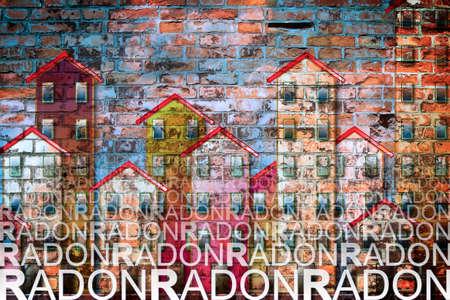 Het gevaar van radongas in onze huizen - conceptenillustratie Stockfoto