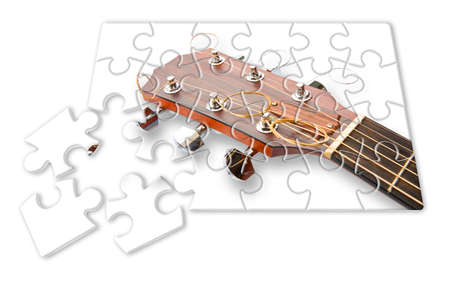 Step by step learning to play the guitar - concept image in jigsaw puzzle shape