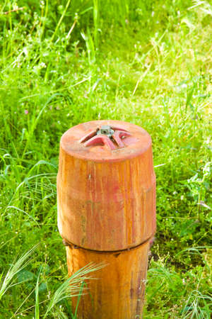 Old red rusty hydrant in a green field  Stock Photo