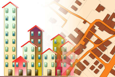 Imaginary cadastral map of territory with buildings and roads - concept image Stock Photo