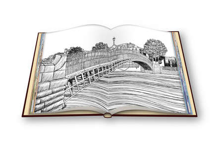 The most famous bridge in Dublin called Half penny bridge - freehand sketch concept image - 3D render of an opened photo book - Im the copyright owner of the images used in this 3D render.