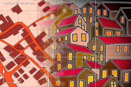 CAD (Computer-Aided Design) 컴퓨터 소프트웨어로 그려진 건물과 도로가있는 영역의 상상적인 지적지도