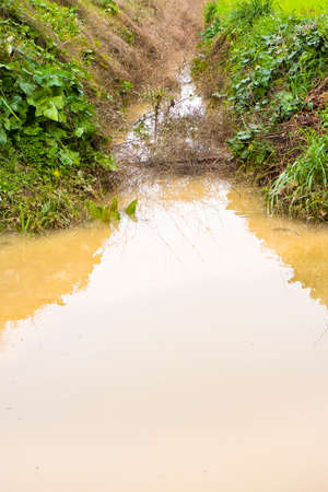 Full water ditch in a field after torrential rain