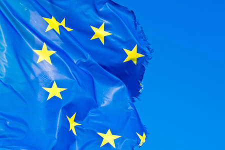 Frayed European flag - concept image with copy space Stock Photo