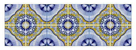 Typical Portuguese decorations with colored ceramic tiles - seamless texture Its a seamless texture that can be repeated modularly to create a uniform and continuously background.