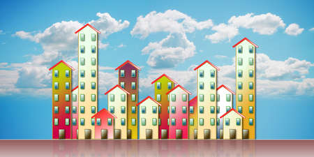 Colored urban agglomeration of a suburb - concept illustration against a cloudy sky