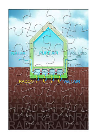 The danger of radon gas in our homes - How to protect themselves from radon infiltration - concept illustration in jigsaw puzzle shape