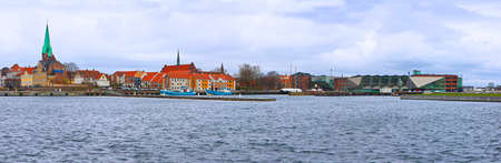 Helsingor city, the place where William Shakespeare set the Hamlet. The village is located on the sea that separates Denmark from Sweden. Image related to winter 2017 Banco de Imagens