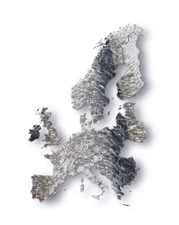 Europe map represented with asbestos graphics on white background.Europe map has been taken up by a paper atlas.Image taken from a paper map.