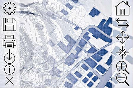 Onlineraadpleging van kadastrale kaarten en territoriale informatie - conceptafbeelding met een denkbeeldige kadastrale kaart van grondgebied met gebouwen, wegen en webnavigatiepictogrammen