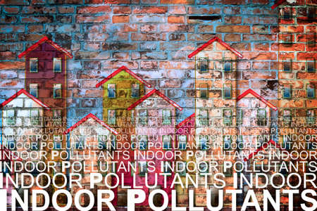 Indoor air pollutants against a buildings background - concept image with copy space