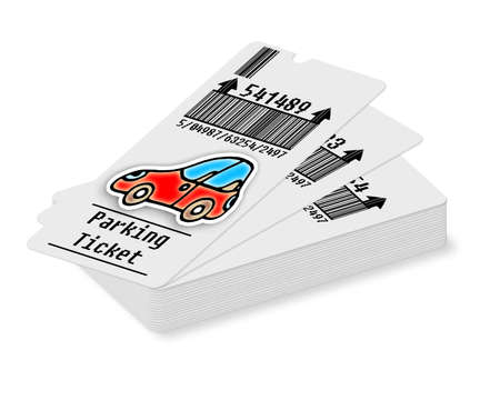 Ticket for parking area on white background - concept image.Bar code and code numbers are completely made up...